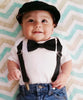 Baby Boy Tuxedo - Black and White - Infant Tux - Wedding - Baby Boy Clothes - Baby Outfit - Newborn Tuxedo - Black Suit - Church - Bow Tie - Noah's Boytique - Noahs Boytique