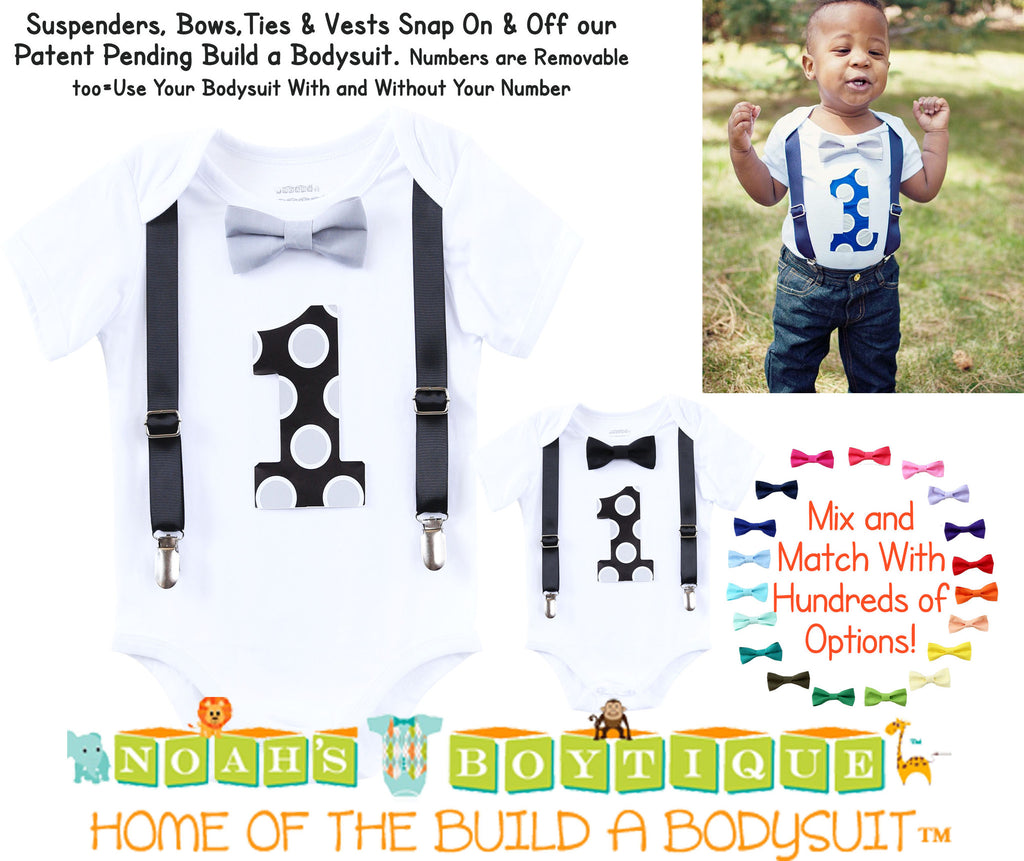first birthday outfit boy black and grey suspenders bow tie number one first birthday onesie baby boy clothes cake smash outfit raiders theme party