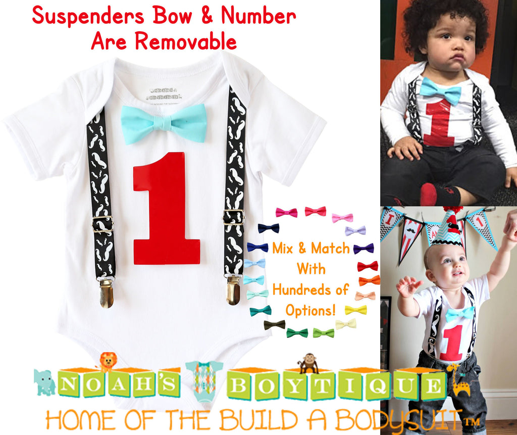 Boys First Birthday Outfit Mustache Bash Little Man Party Noahs