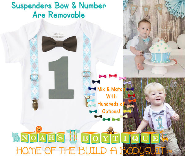 Blue and Gray Baby Boy First Birthday Outfit - Argyle Birthday Shirt - Elephant Theme Party - Cake Smash - Suspenders Bow Tie - Number One - Noah's Boytique  - Baby Boy First Birthday Outfit