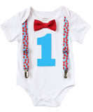 Boys First Birthday Outfit - Turquoise and Red - Blue and Red - First Birthday Shirt - Suspenders Bow Tie - 1st Birthday - Birthday Clothes