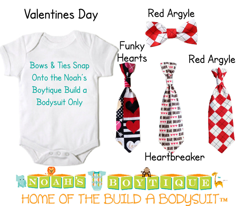 Baby Bow Ties for Noah's Boytique Build a Bodysuit - Snap On Bow Ties - Bow Ties for Babies - Bow Tie Outfit - Bowtie - Valentines Day - Red - Noah's Boytique