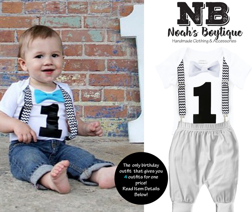 b8fc6b06c9 ... first birthday outfit baby boy black chevron monochrome birthday onesie  noah s boytique suspenders bow tie number ...