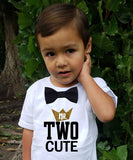 Boys 2nd Birthday Shirt Mr Two Cool Black and Gold with Bow Tie