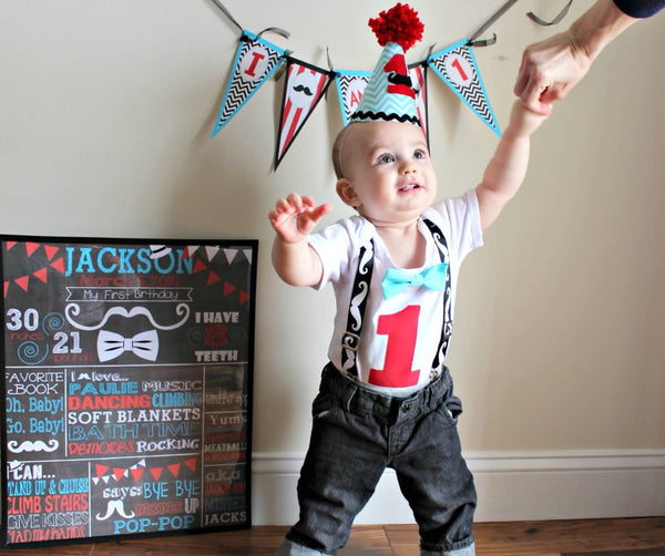 First Birthday Mustache Bash Outfit - Mustache Birthday Outfit Baby - Baby Boy - Mustache 1st - Mustache Baby Suspenders - Bow Tie Outfit