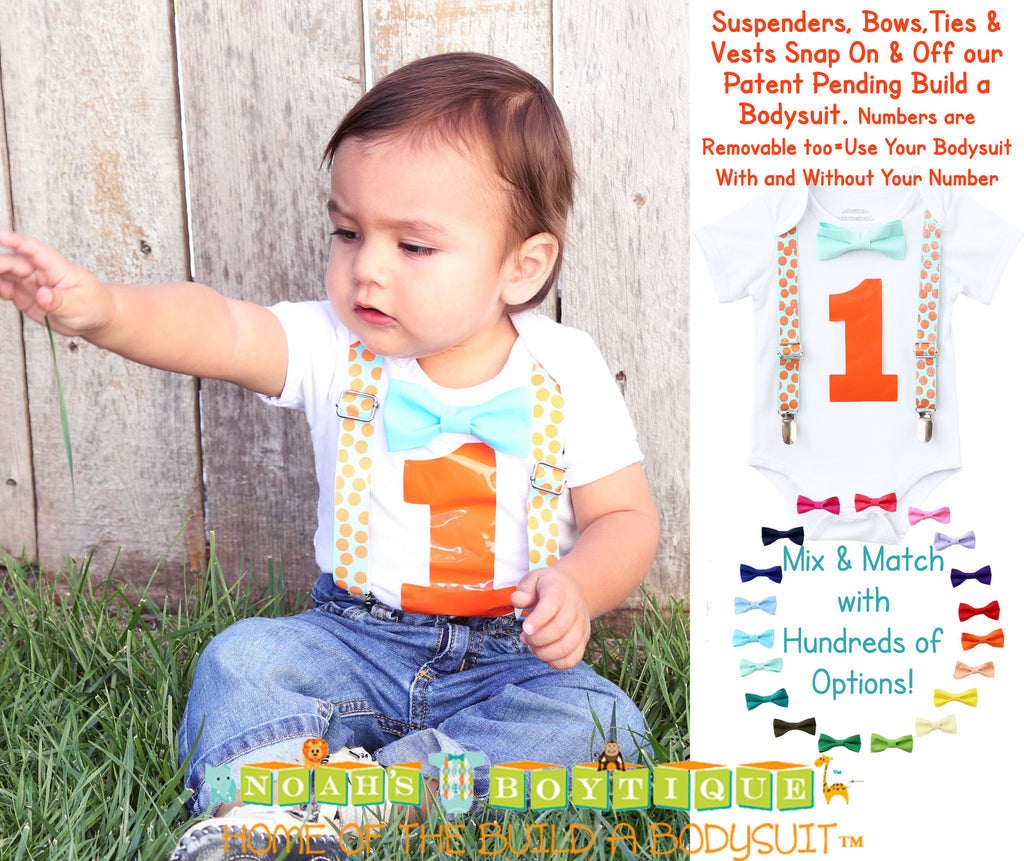 Aqua and Orange First Birthday Outfit Boy - 1st Birthday - Cake Smash - Suspenders and Bow Tie - Birthday Clothes - Shirt - Number One - Dot - Noahs Boytique