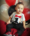 cake smash tie and suspenders baby boy black and red chevron noah's boytique