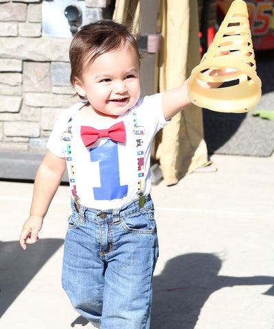 Superhero First Birthday Shirt Suspenders Bow Tie Red Yellow Blue