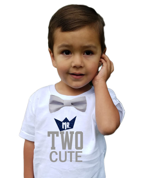 Boys 2nd Birthday Shirt Mr Two Cute Navy And Grey Bow Tie Noahs Boytique
