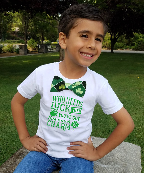 Boys St Patricks Day Shirt Lucky Charm Irish Cute Saying Bow Tie Preschool Shirt Matching Siblings Brothers Toddler