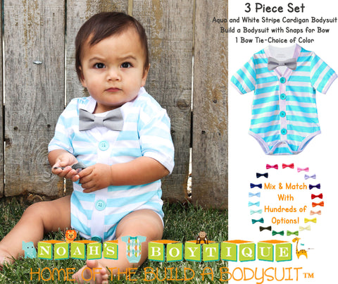 Baby Boy Outfit with Tie and Suspenders Neon