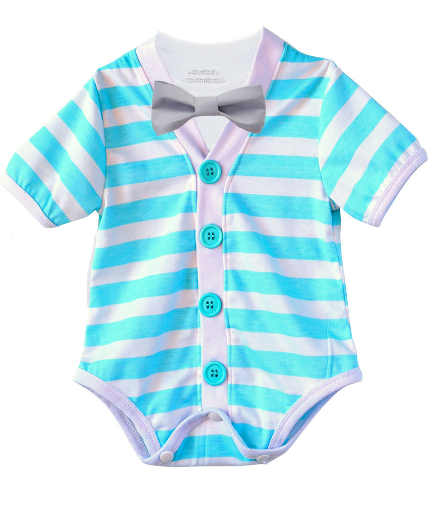 Baby Boy Cardigan Outfit with Bow Tie Aqua Blue and Grey - Preppy Baby Outfit - Short Sleeve - Baby Boy Clothes - Stripes - Summer - Spring - Noah's Boytique - Noah's Boytique Bodysuit - Baby Boy First Birthday Outfit
