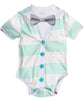 Baby Boy Cardigan Outfit with Bow Tie Mint and Grey - Preppy Baby Outfit - Short Sleeve - Baby Boy Clothes - Stripes - Summer - Spring - Cardigan Onesie - Noah's Boytique