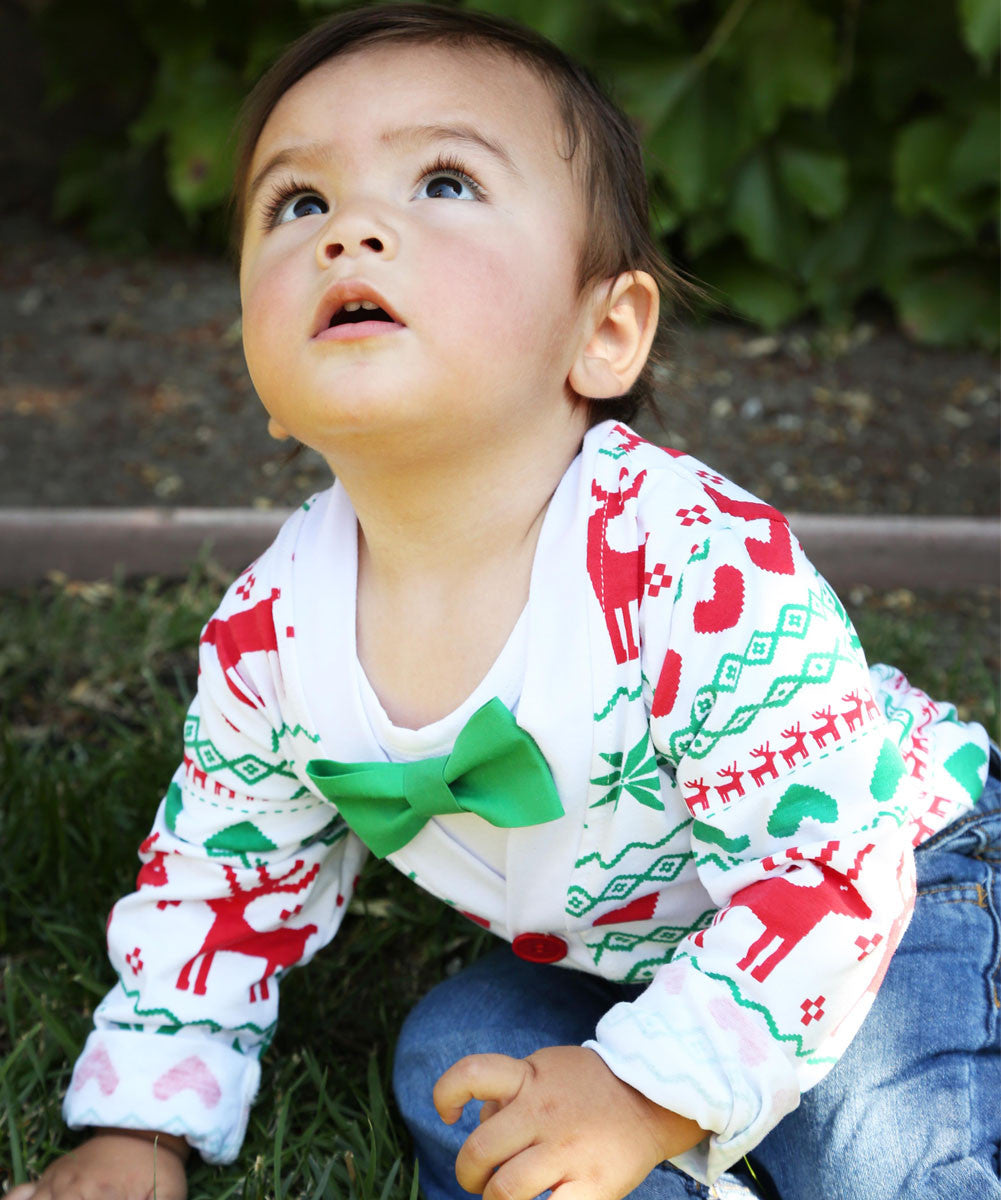 JEATHA Little Kids Boys Autumn Winter Christmas Outfit Deer Printed Shirt with Sweater Cardigan Coat and Pant Set