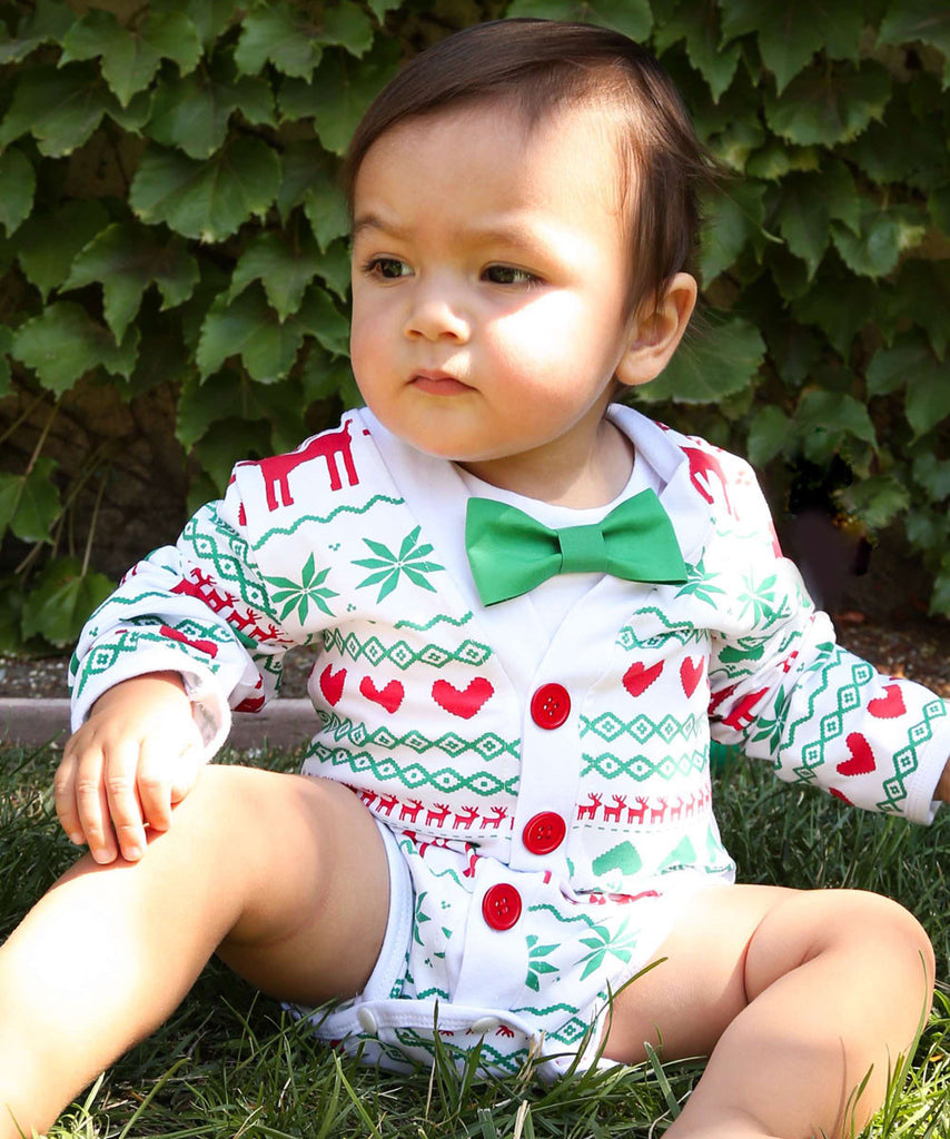 5e8ac30a6f65 Baby Boy Christmas Cardigan Outfit - Nordic Print - Scandanavian - Ugly  Sweater Baby Outfit ...