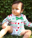 Baby Boy Christmas Cardigan Outfit - Nordic Print - Scandanavian - Ugly Sweater Baby Outfit - First Christmas - Bow Tie - Santa Pictures - Cardigan Onesie - Noahs Boytique - Christmas Outfits for Boys