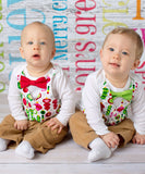 Christmas Outfits for Twin Boys - Brother Christmas Outfits - Sibling - Vest and Bow Tie - Christmas Card Picture Outfit - Newborn - Toddler
