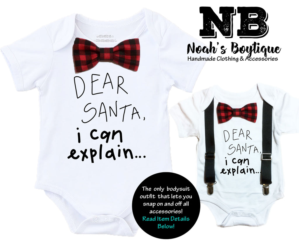 baby boy christmas oufit funny onesie buffalo plaid first christmas newborn bow tie suspenders