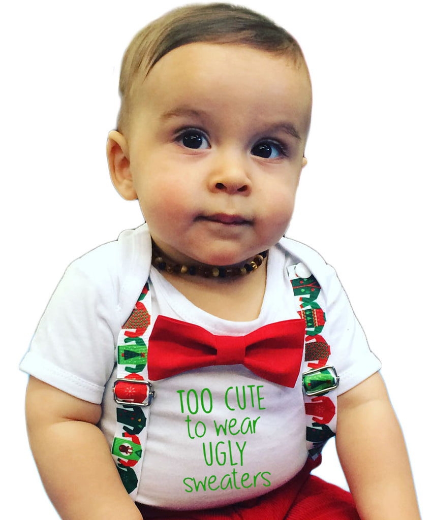 Christmas Outfit Baby Boy Too Cute For An Ugly Sweater – Noah\'s Boytique