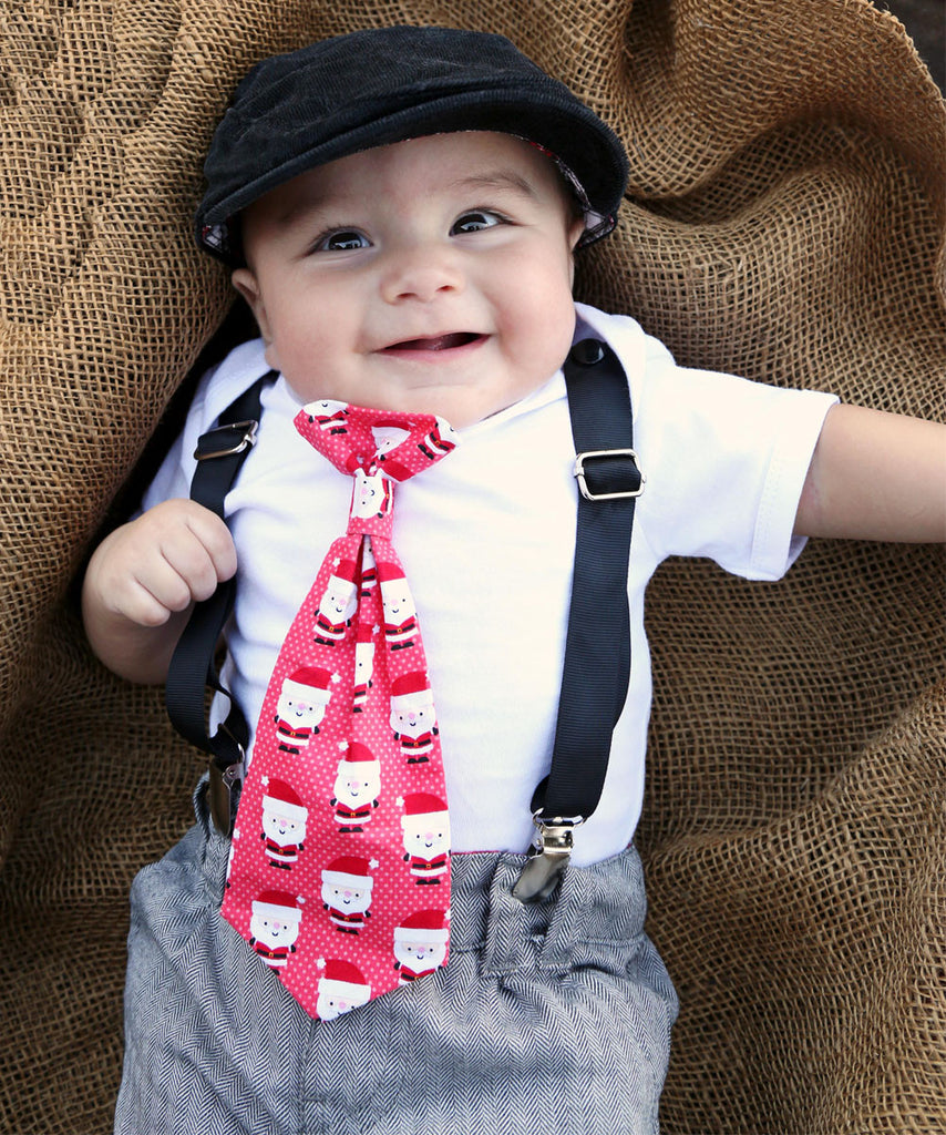 Baby Boy Christmas Outfit - Christmas Outfits for Boys Santa Tie with Suspenders - First Christmas - Twins - Newborn Boy - Toddler Boy