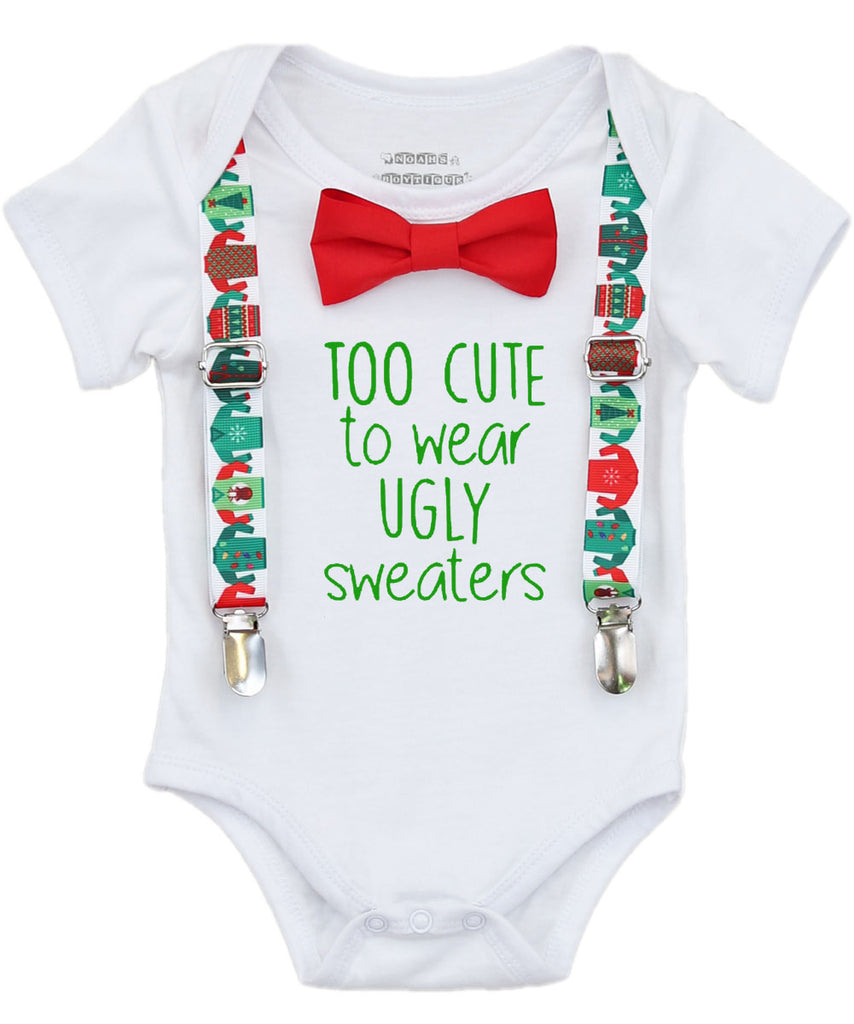 baby boy ugly sweater christmas outfit onesie shirt funny party suspenders bow tie too cute santa pictures newborn infant