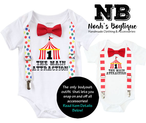 Circus First Birthday Outfit Boy Tent With Number One Red And White Stripe