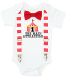 Circus First Birthday Outfit Boy, Circus Tent with Number One, Red and White Stripe Suspenders Bow Tie, Colorful Dots, Carnival Party Shirt