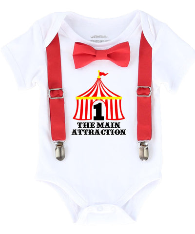 636bc07c3 Circus First Birthday Outfit Baby Boy With Circus Tent and Bow Tie – Noah's  Boytique