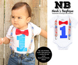 circus birthday outfit baby boy - boys first birthday outfit - 1st birthday - carnival party - circus first birthday onesie