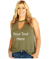 Customized Tank for Women Girls V Neck Cut Out 4 Color Choices