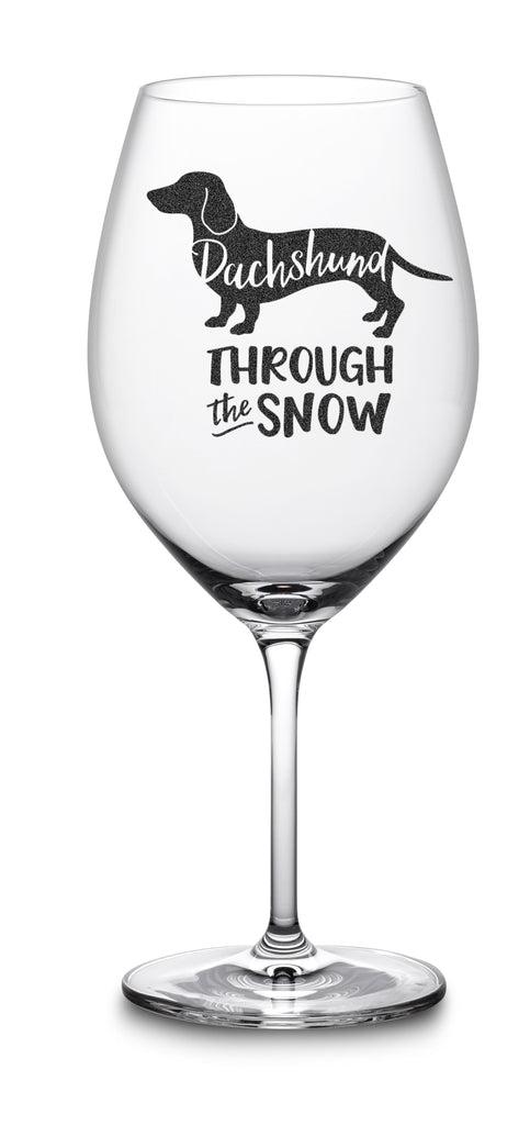 wiener dog wine glass christmas gift birthday dachshund through the snow funny wine glasses holidays
