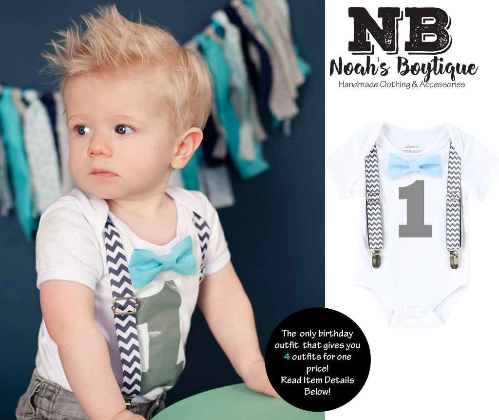 boys first birthday outfit grey and aqua chevron cake smash outfit birthday onesie