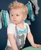 first birthday outfits boy grey gray chevron aqua bow tie number one cake smash onesie