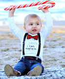 baby boy christmas outfit with bow tie and cute funny saying buffalo plaid suspenders santa pictures photo prop newborn first christmas