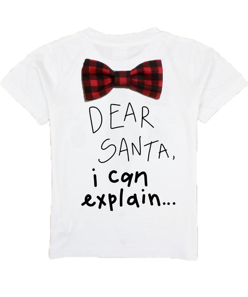boys christmas shirt with funny saying bow tie buffalo plaid cute santa christmas picture outfit ideas naughty list can explain