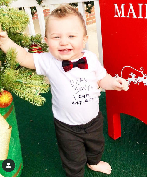 Baby Boy Christmas Outfit Dear Santa I Can Explain Buffalo Plaid