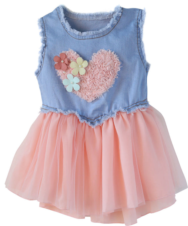Baby Toddler Denim with Pink Heart Country Dress