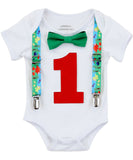 First Birthday Dinosaur Outfit - Shirt - 1st Birthday Boy - Dinosaur Party - Dinosaur Theme - Dinosaur Outfit - Dinosaur Suspenders - Green