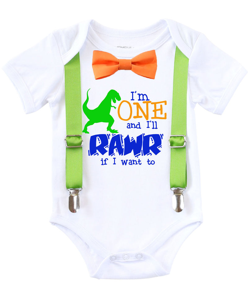 dinosaur first birthday shirt outfit 1st birthday party theme bow tie suspenders onesie rawr i'm one orange blue green lime aqua