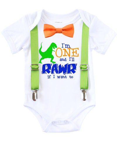 Dinosaur First Birthday Shirt Outfit Boy Rawr Suspenders Bow Tie Noahs Boytique