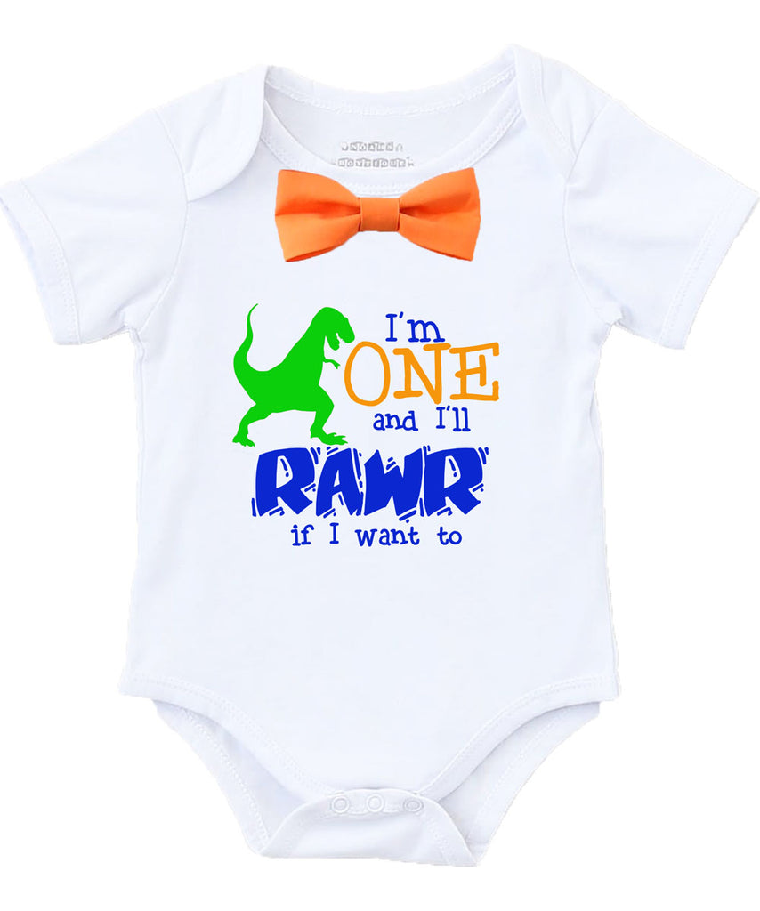 Dinosaur First Birthday Shirt Outfit 1st Party Theme Bow Tie Suspenders Onesie Rawr I