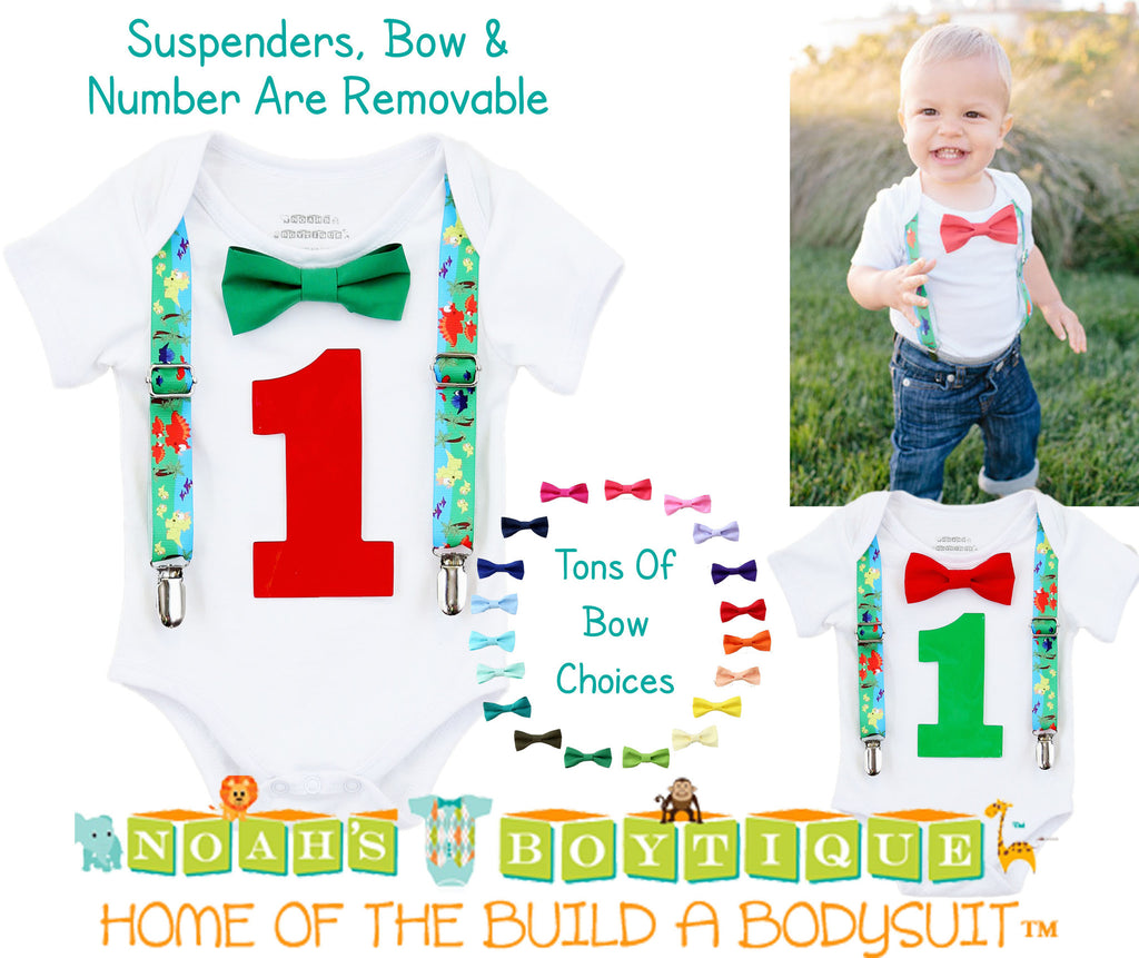 First Birthday Dinosaur Outfit - Shirt - 1st Birthday Boy - Dinosaur Party - Dinosaur Theme - Dinosaur Outfit - Dinosaur Suspenders - Green - Noah's Boytique  - Baby Boy First Birthday Outfit