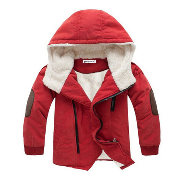 342252a04 Boys Fleece Lined Coat with Elbow Patches Stylish Winter Jacket Toddler ...
