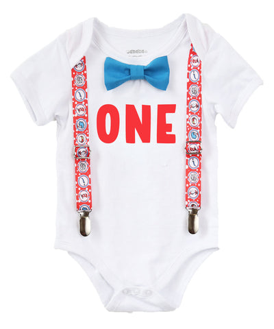Fishing Fish Under the Sea First Birthday Shirt Outfit Boy Suspenders Bow Tie