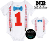 Dr. Seuss First Birthday Outfit Boy - Boys First Birthday Outfit Dr. Seuss Theme - Cat in the Hat - Thing 1 Thing 2 - Noah's Boytique  - Baby Boy First Birthday Outfit