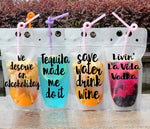 drink pouches clear with funny sayings straw drinking party tailgating bbq pool party camping concerts reusable plastic flask drink bag