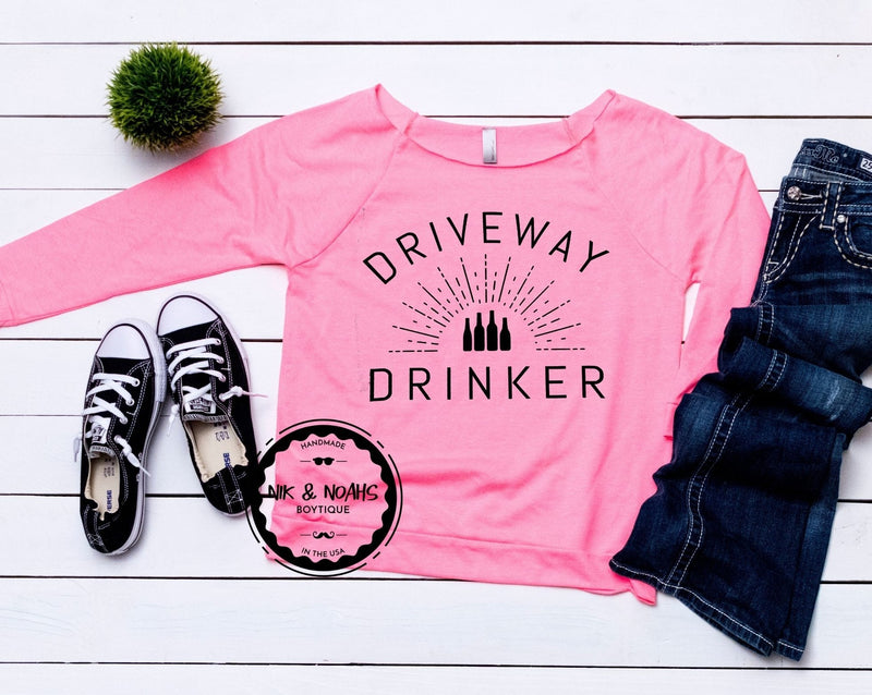 womens long sleeve t-shirt shirt tee driveway drinker funny quarantine shirts womens graphic tees gift ideas for her mom sister friend hot pink