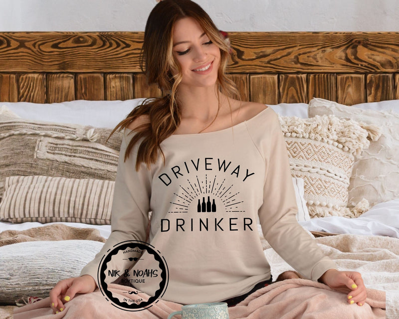 womens long sleeve t-shirt shirt tee driveway drinker funny quarantine shirts womens graphic tees gift ideas for her mom sister friend natural nude beige