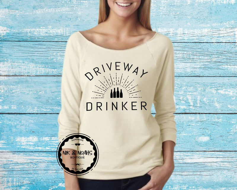 womens long sleeve t-shirt shirt tee driveway drinker funny quarantine shirts womens graphic tees gift ideas for her mom sister friend beige nude sand natural