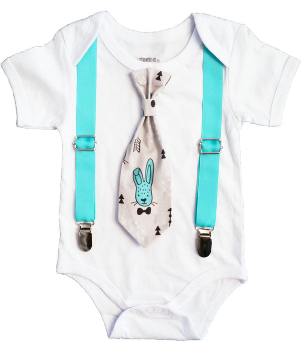 Baby Boy Easter Onesie with Tie Outfit - Easter Bunny Tie and Suspenders - Easter Outfit Newborn - First Easter - Easter Shirt - Toddler - Infant - Plaid
